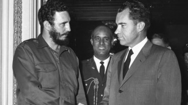 Fidel Castro shakes hands with then American vice-president Richard Nixon in Washington.