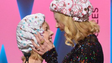 Naomi Watts and honoree Nicole Kidman ham it up at the Women In Film 2015 Crystal + Lucy Awards.