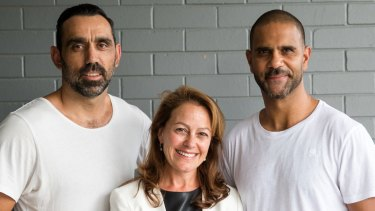 Holly Kramer has become a director at Go Foundation which was co-founded by Adam Goodes (left) and Michael O'Laughlin.