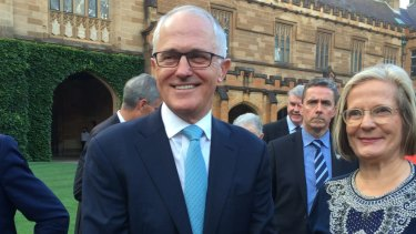 Malcolm Turnbull and his wife Lucy at the University of Sydney on Saturday where the Prime Minister reaffirmed his support for an Australian republic.