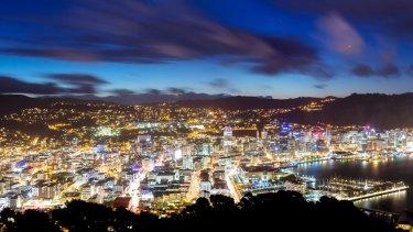 Panorama of Wellington city at night.