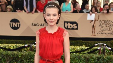 Millie Bobby Brown arrives at the 23rd annual Screen Actors Guild Awards.