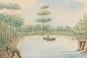 William Bradley's watercolour Taking of Colbee & Benalon, 25 November 1789.