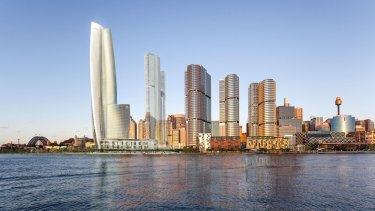 Crown's proposed hotel, apartment and casino complex for Barangaroo.