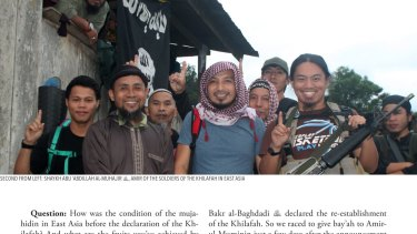 A picture from Islamic State's magazine <i>Rumiyah</i> shows South-east Asian jihadists.