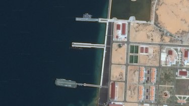 A submarine can be seen in the middle pier at Cam Ranh Bay in Vietnam.