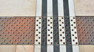 A detail of the paving for the tramway in Tours.