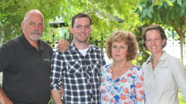 Lou and Lucy Haslam (left and second from right) are spearheading a campaign to have cannabis legalised for terminally ill patients, like their son Dan (second from left). The push also has the support of Dan's wife Alyce (right).