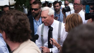 Roger Stone walks off stage on the first day of the Republican National Convention in Cleveland in July, as WikiLeaks began dumping the Democrats' emails.
