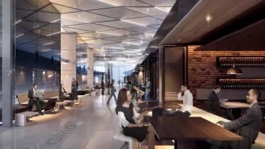 """An  impression of the """"grid"""" of retail shops on the ground floor of 567 Collins Street."""