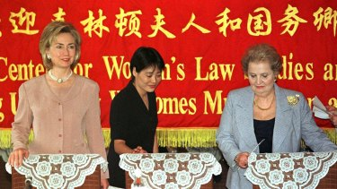 Then US first lady Hillary Rodham Clinton with then  Secretary of State Madeleine Albright at a women's law studies meeting in Beijing in 1998.