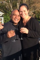 Roland Kun and Katy Le Roy drink a toast in the hours after Mr Kun arrived in New Zealand.
