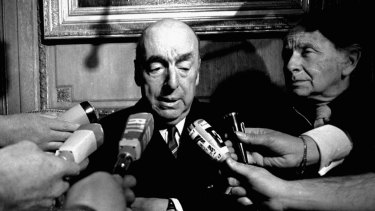 Pablo Neruda talks with reporters in Paris after being named winner of the 1971 Nobel Prize in Literature.
