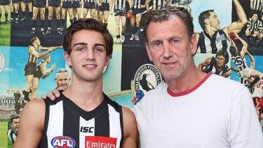 Collingwood father-son draftee Josh Daicos with his Dad.