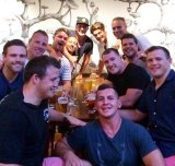 Pre-wedding drinks: Greg Bird with several NRL stars, including Paul Gallen, Josh and Brett Morris and Luke Lewis.