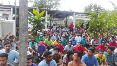 A supplied image of refugees and asylum seekers protesting at the Manus Island centre on November 11.