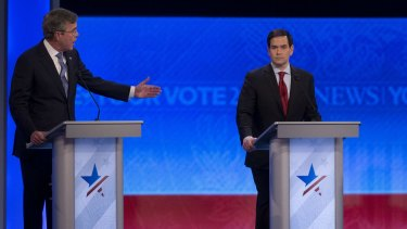 Jeb Bush (left) said he would not employ waterboarding, while Marco Rubio declined to provide a definitive answer on the subject.