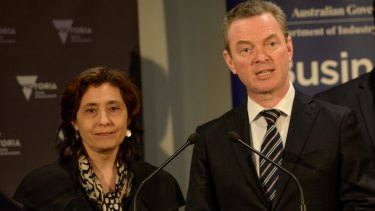 Industry minister Christopher Pyne  with Victorian industry minister Lily D'Ambrosio on a visit to Trajan Scientific and Medical Australia which has received government funding to support advanced manufacturing and transition away from auto manufacturing.