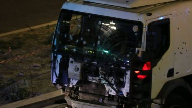 The truck involved in the Nice attack.