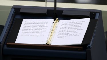 Donald Trump's speech on the lectern ahead of the 58th presidential inauguration.