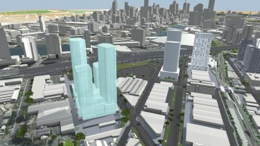 Four towers, approved by Planning Minister Richard Wynne, in Johnson Street, South Melbourne.