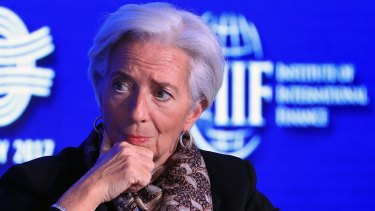 Christine Lagarde, managing director of the International Monetary Fund (IMF), at the Institute of International Finance G-20 Conference in Frankfurt, Germany, last month.
