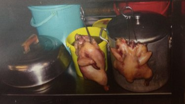 Cooked chickens hanging from shelving at Red Emperor, as pictured in photographs shown to the court.
