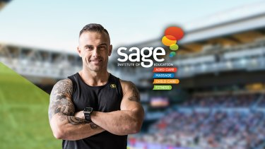 An advertisement for Sage Institute of Fitness, which features Commando Steve Willis.