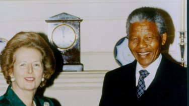 Nelson Mandela, pictured with Margaret Thatcher, used the symbolism of sport to advance his arguments.