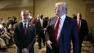 Republican presidential candidate Donald Trump, right, with his campaign manager Corey Lewandowski in Dubuque, Iowa in August.