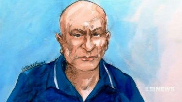 A court sketch of Vinzent Tarantino, who made strange comments in Central Local Court on Monday.