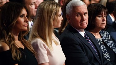 Melania Trump, Ivanka Trump,  Karen Pence and Michael Flynn at the first presidential debate in September.