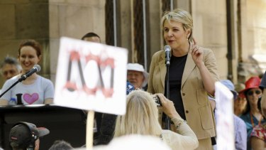 Labor's Tanya Plibersek addresses the crowd.