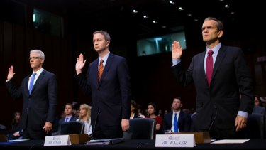 From left: Colin Stretch, general counsel of Facebook; Sean Edgett, acting general counsel of Twitter; and Kent Walker, senior vice-president and general counsel of Google, testify at a Senate Intelligence Committee hearing on November 1.