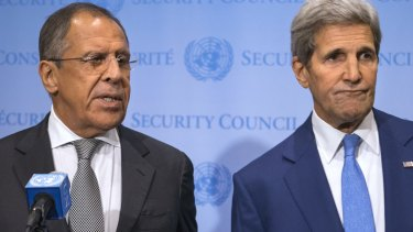Russian Foreign Minister Sergei Lavrov (left) speaks during a news conference with US Secretary of State John Kerry at the UN.
