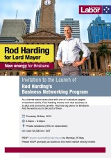 An invite to Rod Harding's business networking program launch.