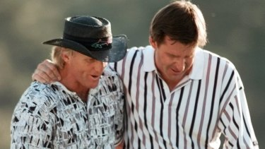 Greg Norman after infamously surrendering a six-shot Masters lead to Nick Faldo in 1996