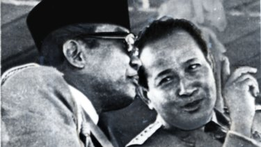 Suharto (right) and Sukarno during an Independence Day parade in Jakarta in 1967.