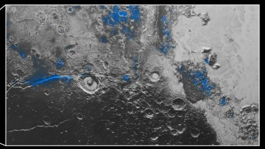 Frozen water patches on Pluto's surface (in blue). Confusingly, NASA said that these patches are actually a reddish colour from chemicals in the ice.