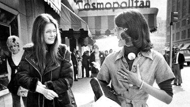 Steinem (at left) in Denver in 1974 with Colorado's first congresswoman, Pat Schroeder.