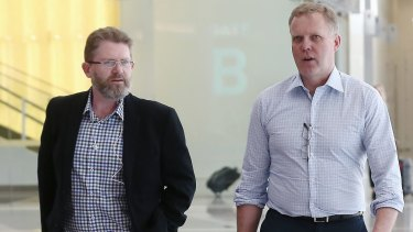 Special Minister of State Scott Ryan and Speaker Tony Smith arrive at Canberra Airport last month.