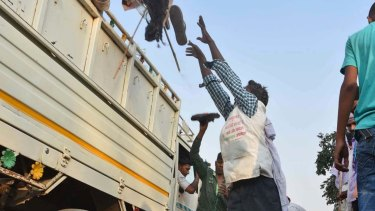 A man loads a truck with footwear of victims of a stampede on a crowded bridge on the outskirts of Varanasi, India.