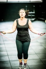 Ms Lavars during a CrossFit workout before she was diagnosed with depression.