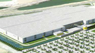 An artist's impression of a new logistics facility that Goodman is developing on behalf of Amazon in Rheinberg, Germany.