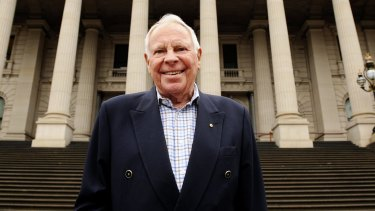 Harry Gordon on the steps of Melbourne's Parliament House.
