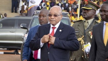Jacob Zuma arrives for the inauguration ceremony of Ugandan President Yoweri Museveni's fifth term in Kampala last week.