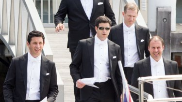 Ryan Stokes and his groomsmen leave his apartment in Walsh Bay to board a boat for his wedding.