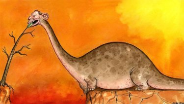 John Shakespeare's original illustration of Tony Abbott as a climate change dinosaur.