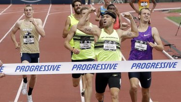 Nick Symmonds wins the 800m event at the US Track and Field Championships in June.