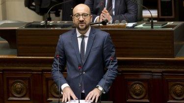 Belgian Prime Minister Charles Michel addresses Parliament.